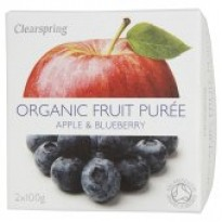 Clearspring Apple & Blueberry Fruit Puree 2 x 100g